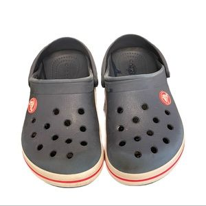 Kids red white and blue crocs